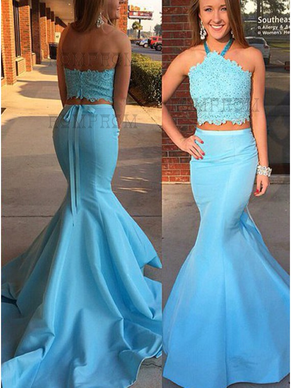 Buy Mermaid Halter Sash Two Piece Light Blue Prom Dress with Lace ...