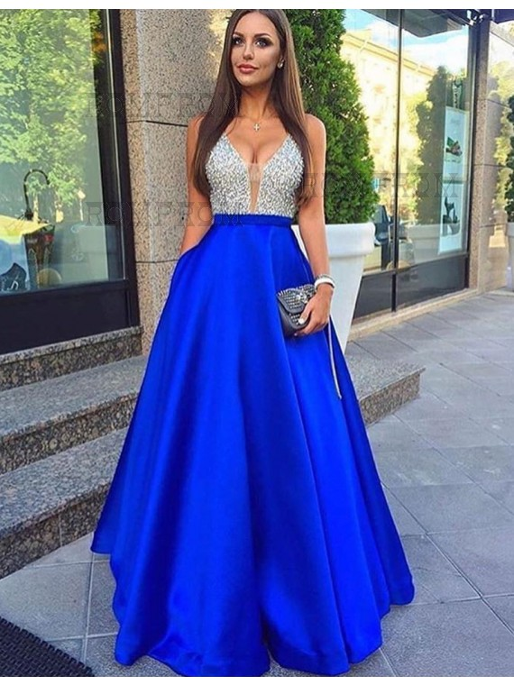 Buy A-Line Low Cut V-Neck Royal Blue Satin Prom Dress with Beading ...