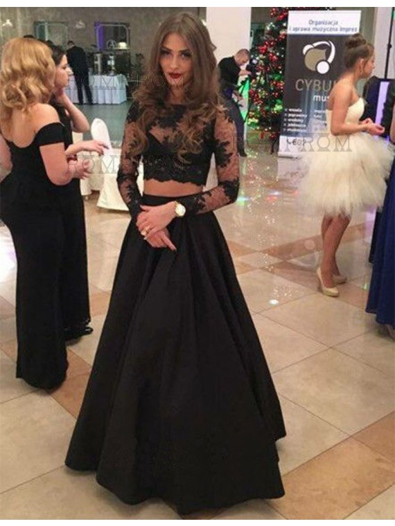 A Line Bateau Long Sleeves Floor Length Black Two Piece Prom Dress With Lace