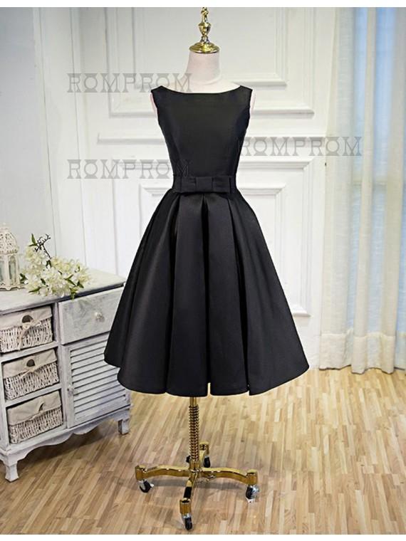 knee length black prom dresses
