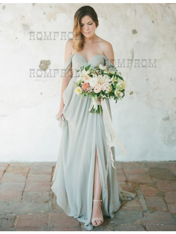 Line off the shoulder backless grey bridesmaid dress with pleats a line off the shoulder backless grey bridesmaid dress with pleats junglespirit