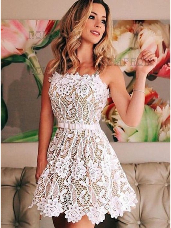 Buy A-Line Straps White Lace Homecoming Dress with Sash White ...