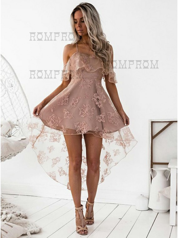 Buy A-Line Spaghetti Straps Hi-Lo Blush Lace Homecoming Dress ...