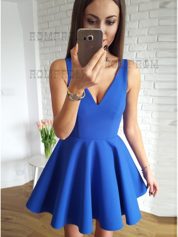 Buy A-Line V-Neck Short Royal Blue Homecoming Dress with Ruched ...
