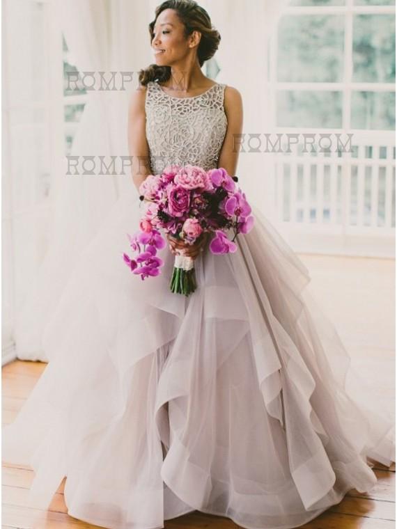A Line Round Court Train Organza Lace Light Grey Open Back Wedding Dress