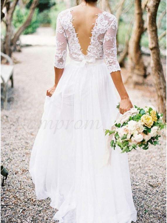 A-line Elegant V-neck 3/4 Lace Sleeves Lace Top Wedding Dresses ...