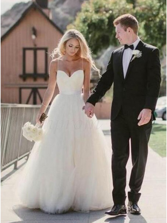 A-line Spaghetti Straps Ivory Tulle Wedding Dress with Appliques Sashes