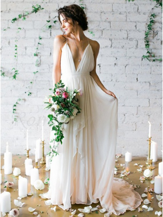 A-Line Deep V-Neck Backless Ivory Chiffon Wedding Dress with Pleats