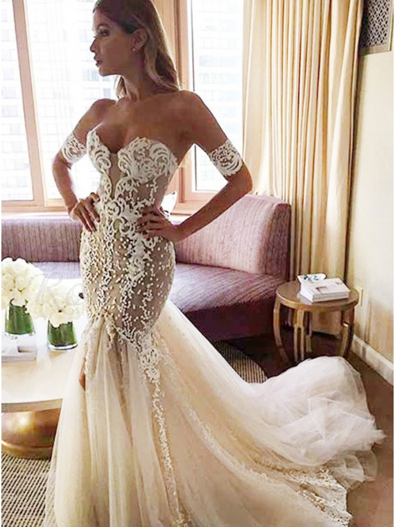 JoyVany Mermaid Wedding Dresses Sweetheart Backless Wedding Gowns Sweep Train
