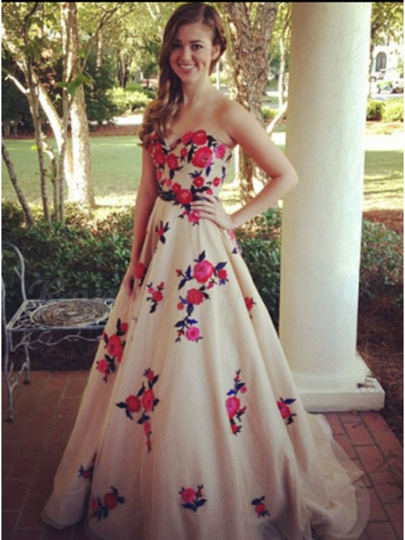 A-line Long Sweetheart Prom Dress with Sash Embroidery Flowers