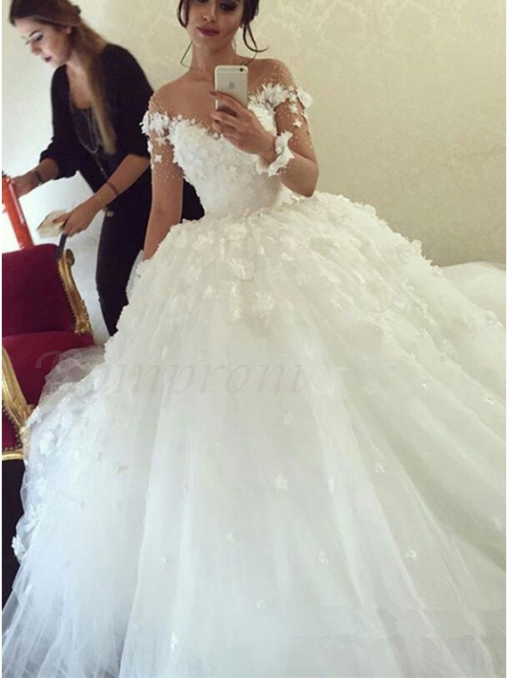 Ball Gown Off-the-Shoulder Long Sheer Sleeves White Flowers Wedding ...
