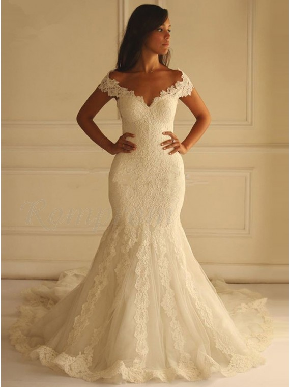 Mermaid Off The Shoulder Court Train White Lace Wedding Dress