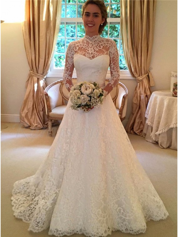 A-line High Neck Long Sleeves Open Back Lace Wedding Dress with ...