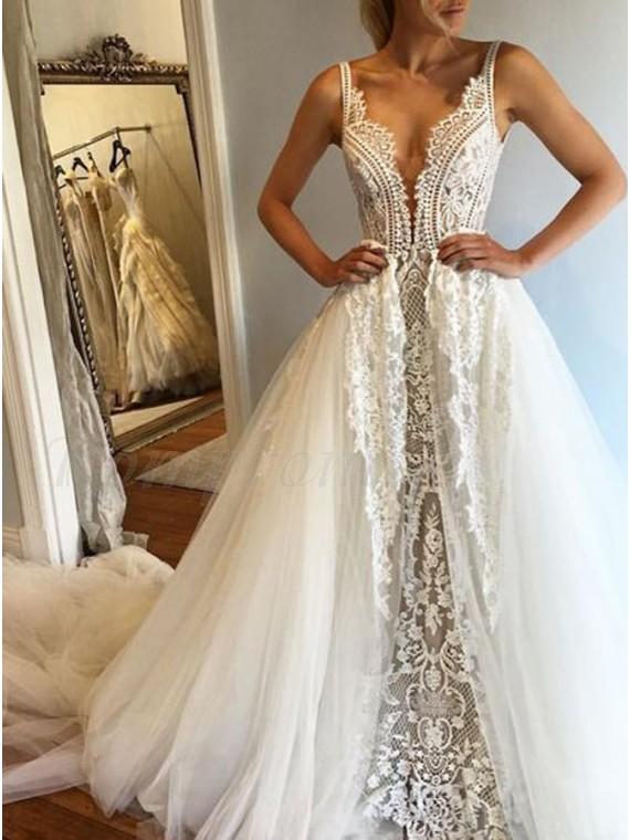 A-Line Deep V-Neck Sleeveless Court Train Wedding Dress with Lace