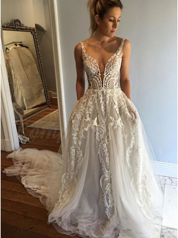 a8c9fec1366 A-Line Deep V-Neck Court Train Ivory Tulle Wedding Dress with Lace ...