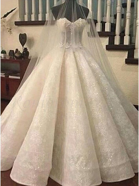 Ball Gown Sweetheart Ivory Organza Wedding Dress With Sequins ...