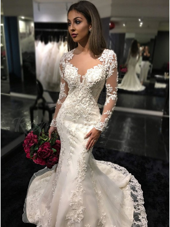 Mermaid Long Sleeves Illusion Back Glamorous Lace Wedding Dress