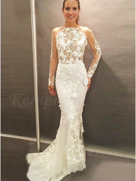 Mermaid Round Long Sleeves Open Back Wedding Dress with Appliques ...