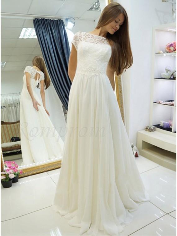 A Line Bateau Short Sleeves Lace Up Chiffon Wedding Dress With Lace