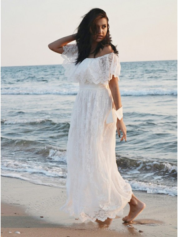 A-Line Off-the-Shoulder Boho Lace Beach Wedding Dress with Ruffles ...