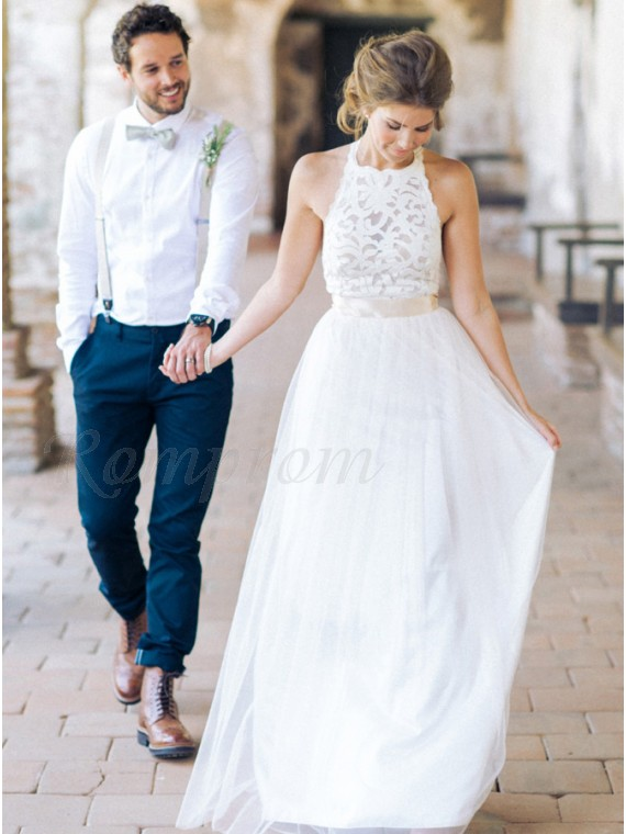 A-line Straps White Long Tulle Beach Wedding Dress with Lace Sashes
