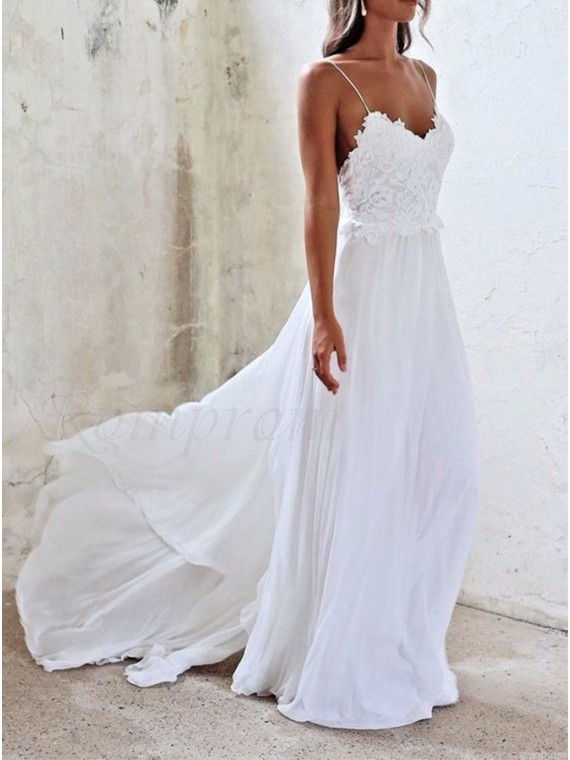 A-line Spaghetti Straps White Long Chiffon Beach Wedding Dress