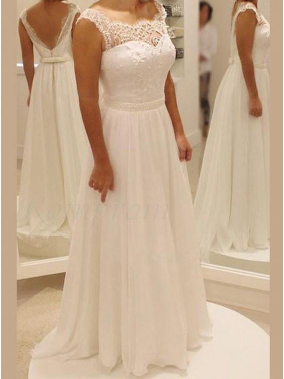 A-line Long Chiffon Beach Wedding Dress with Lace Beading Sashes