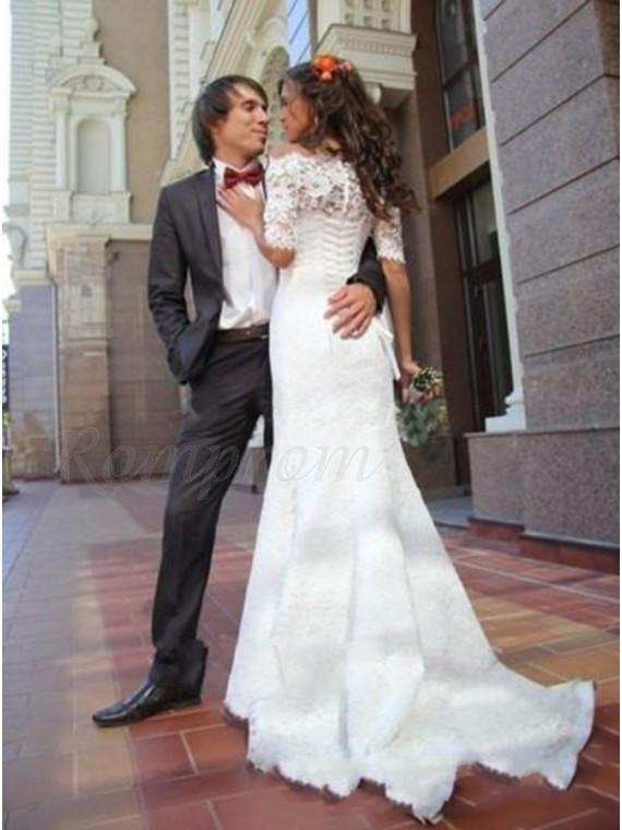 Mermaid Off The Shoulder Half Sleeves White Lace Wedding Dress