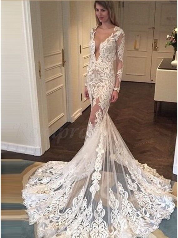 99e0c1422dd6 Mermaid Deep V Neck Lace Long Sleeves Wedding Dress with Court Train ...