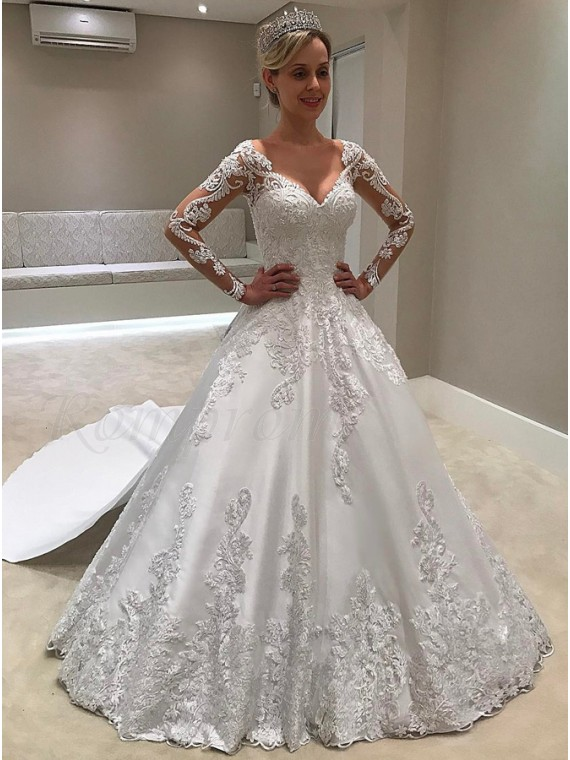 Ball Gown V-Neck Long Sleeves Watteau Train Wedding Dress with Appliques