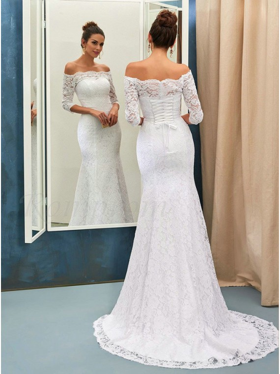 Mermaid Off Shoulder Half Sleeves Lace-Up Lace Wedding Dress ...