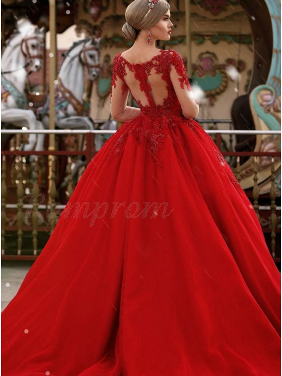 Ball Gown V-neck Long Sleeves Red Tulle Wedding Dress with Appliques ...