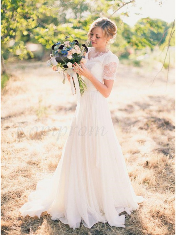 A Line V Neck Short Sleeves Simple Wedding Dress With Lace Sashes