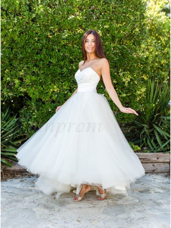 A Line Sweetheart Ankle Length White Simple Tulle Wedding Dress