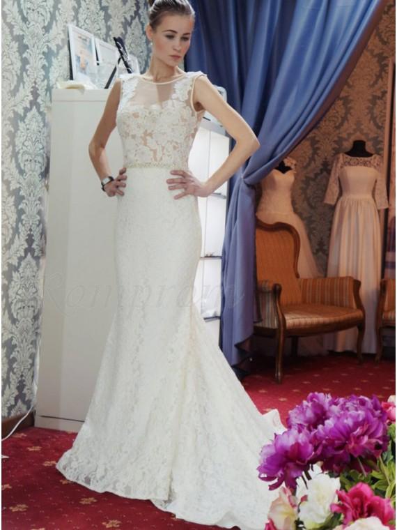 Sheath Bateau Court Train Backless Lace Wedding Dress with Beading