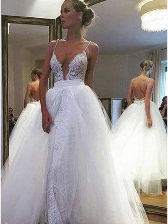 A Line Strapless Backless Tulle Beach Wedding Dress With Lace