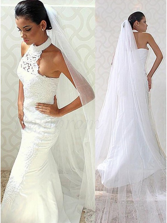 Mermaid Halter Sweep Train Gorgeous Wedding Dress with Lace
