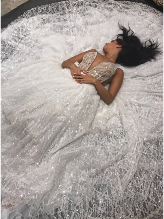 A-Line Deep V-Neck Chapel Train Backless Sliver Sequined Wedding Dress