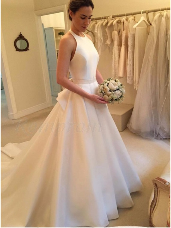 7556da9fb6f A-Line Halter Backless Court Train White Satin Wedding Dress with ...