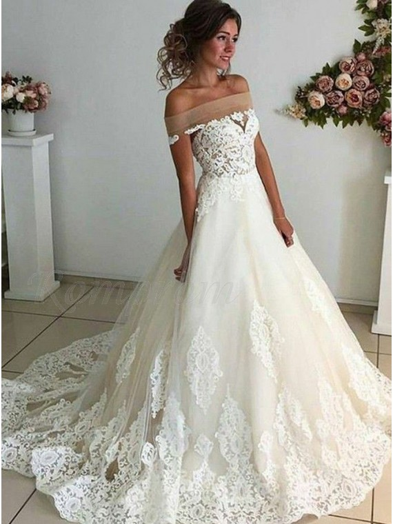 A Line Off The Shoulder Sweep Train White Wedding Dress With Appliques 249 99 Only Romprom Com