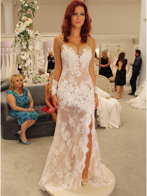 Mermaid Bateau Long Sleeves Sweep Train White Wedding Dress with Appliques Beading