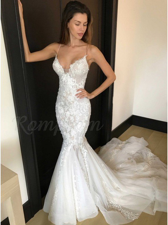 Mermaid Spaghetti Straps Long White Wedding Dress with Court Train ...