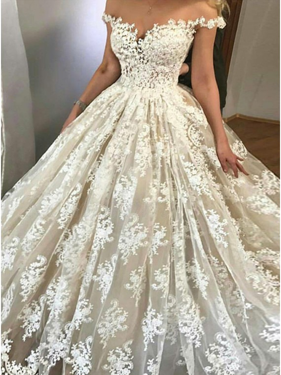 Ball Gown Off-the-Shoulder Ivory Wedding Dress with Appliques