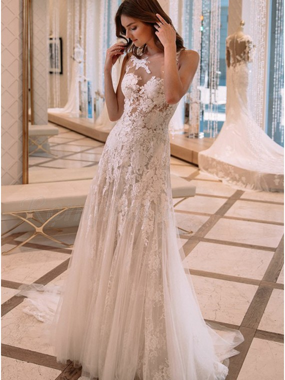 A Line Jewel Illusion Back Wedding Dress With Lace Appliques