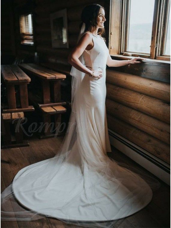 Elegant Bateau Backless Mermaid Wedding Dress with Beading