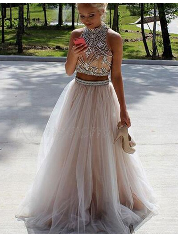 Champagne Two Piece Prom Dress