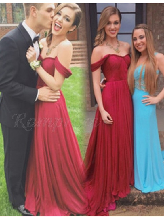 A-Line Off the Shoulder Short Sleeves Long Burgundy Prom Dress with Pleats