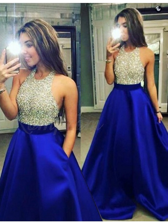 61682938f3f A-Line Halter Backless Long Beaded Prom Dress Royal Blue Evening ...