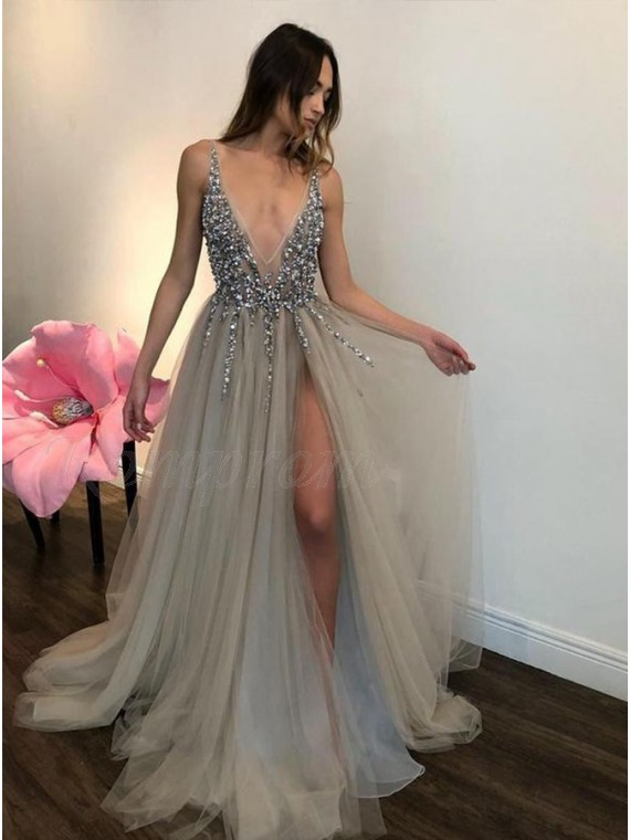 a6300dcf18df A-Line Deep V-Neck Backless Slit Legs Beaded Grey Tulle Prom Dress