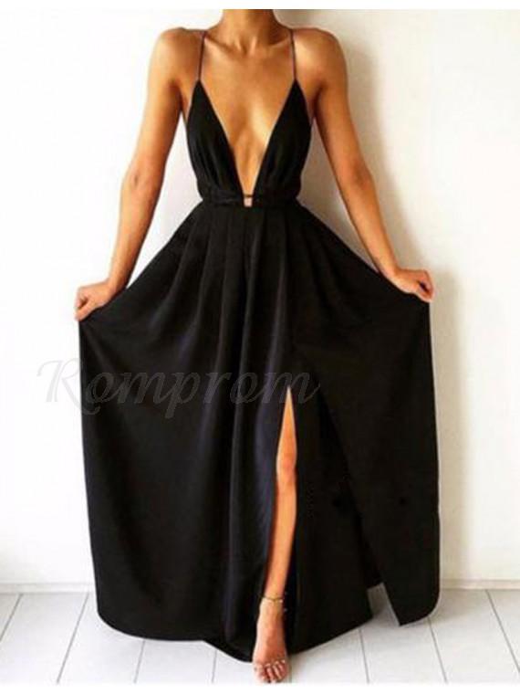 f0b3201cbc A-Line Spaghetti Straps Split Front Backless Long Black Prom Dress ...